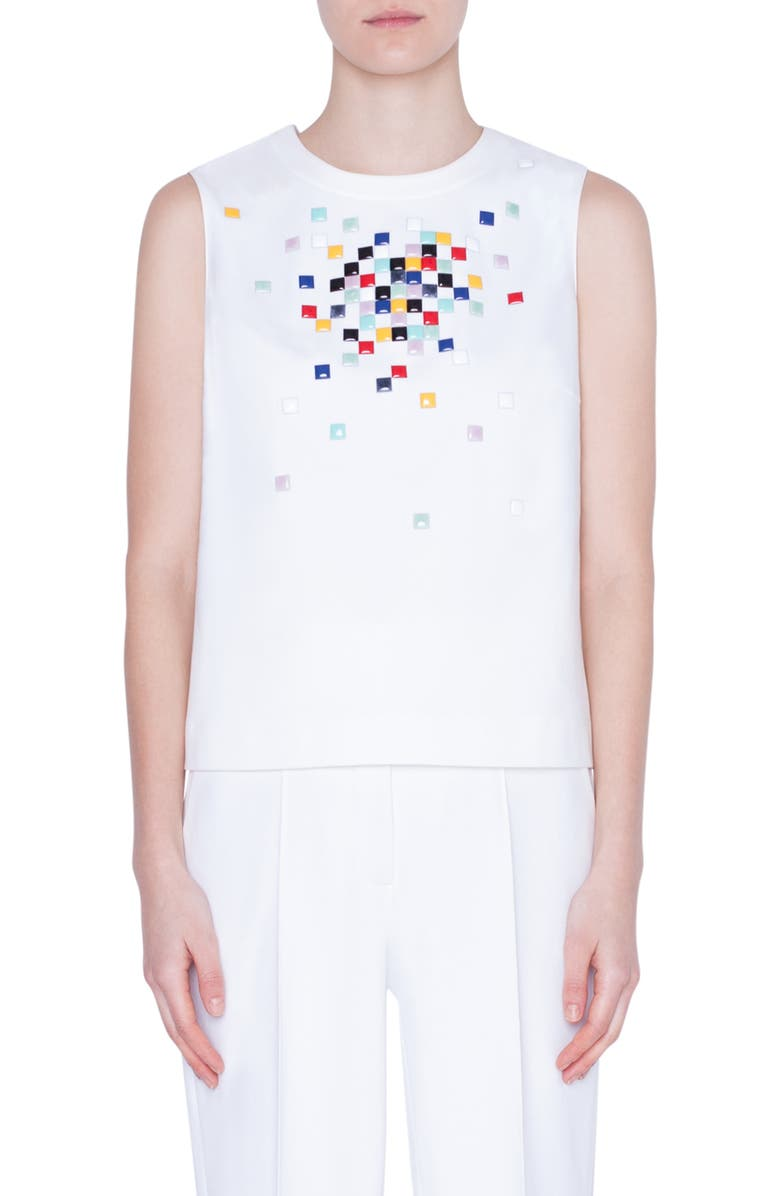 AKRIS PUNTO Pixel Stud Embellished Tank, Main, color, CREAM