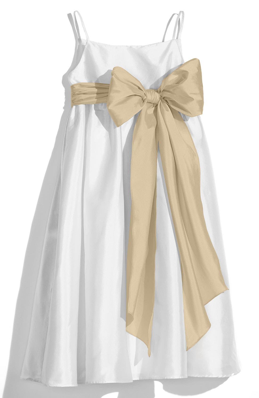 ,                             White Sleeveless Empire Waist Taffeta Dress,                             Main thumbnail 6, color,                             250