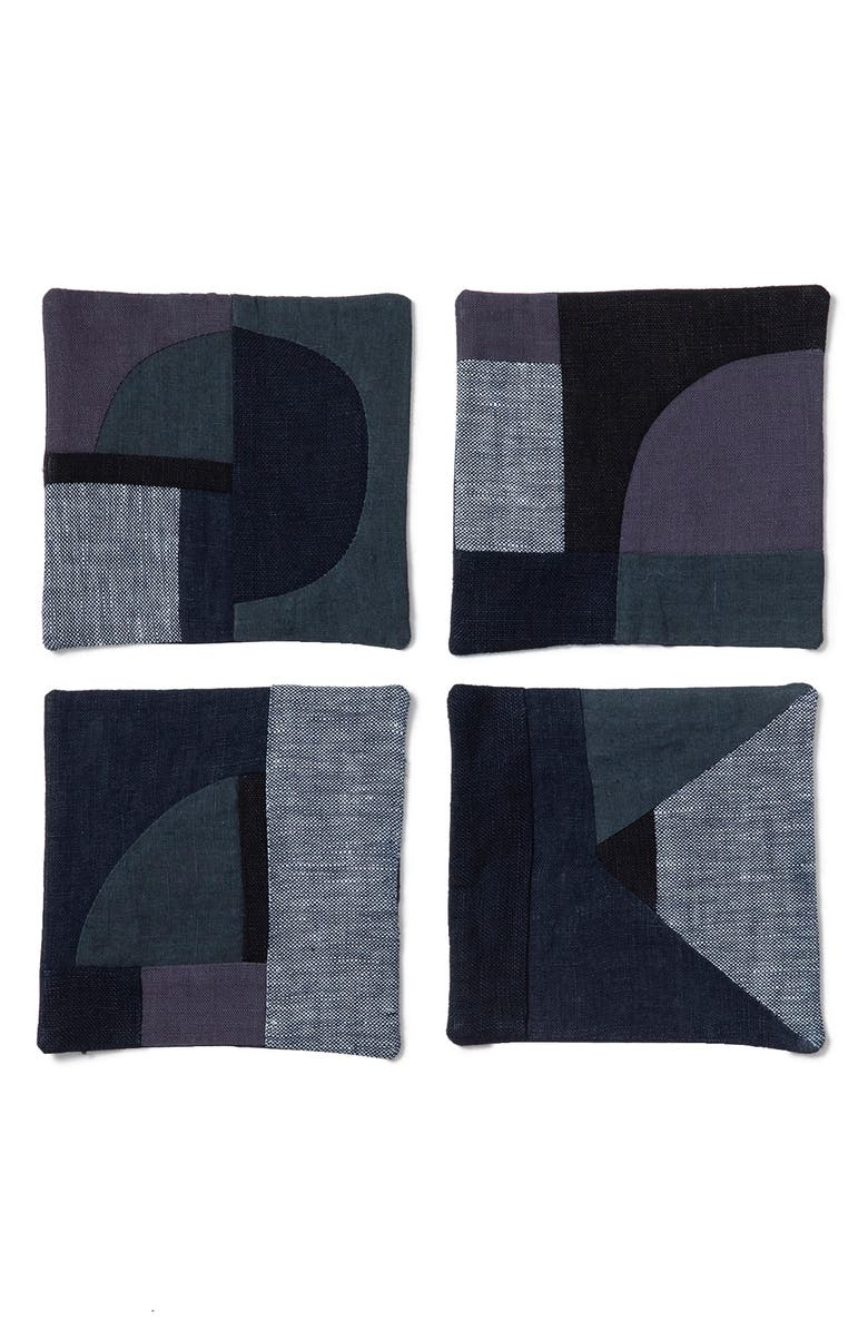 THOMPSON STREET STUDIO Set of 4 Linen & Cotton Patchwork Coasters, Main, color, INDIGO