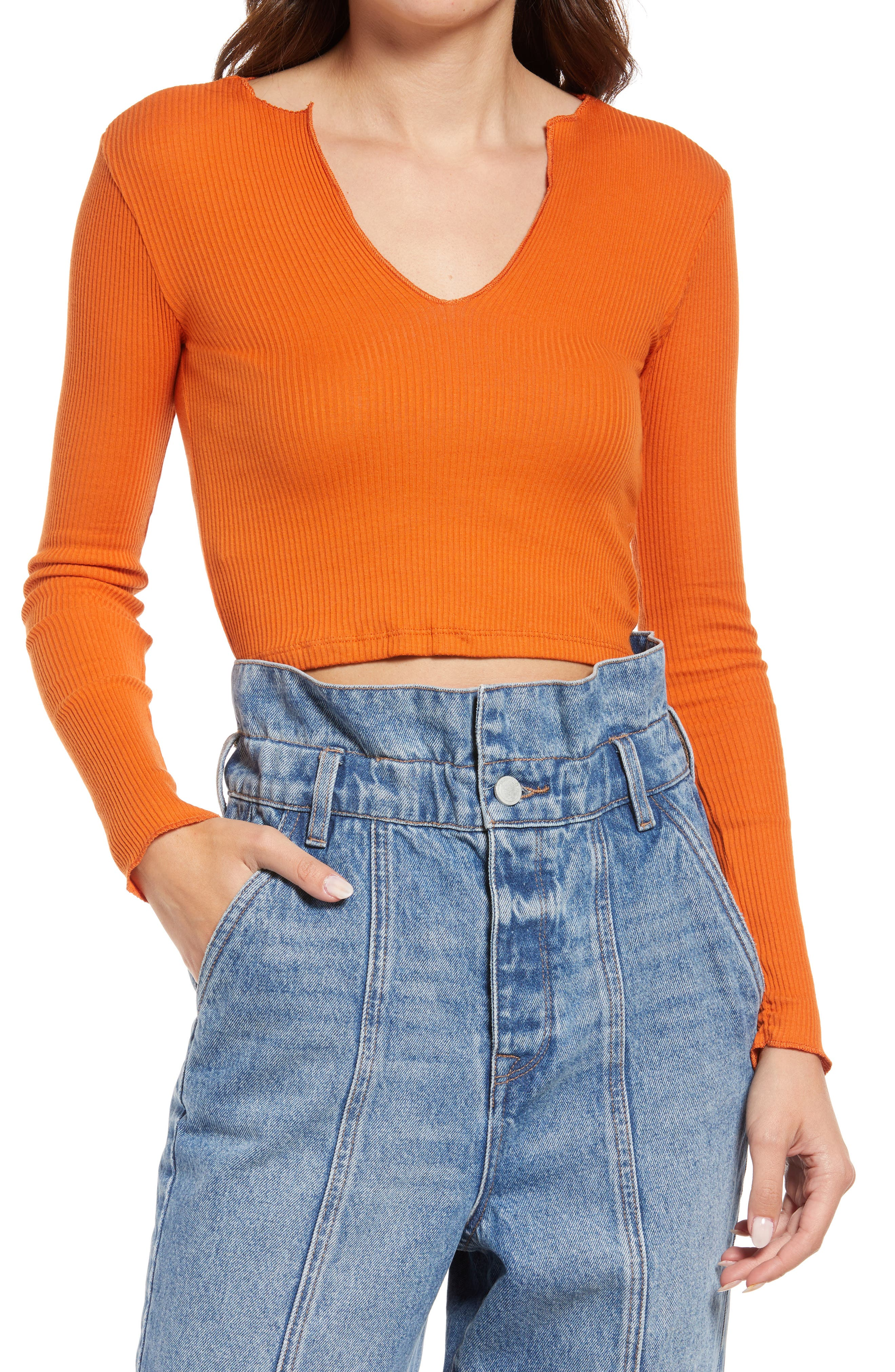 Nala Notch Neck Long Sleeve Crop T-Shirt