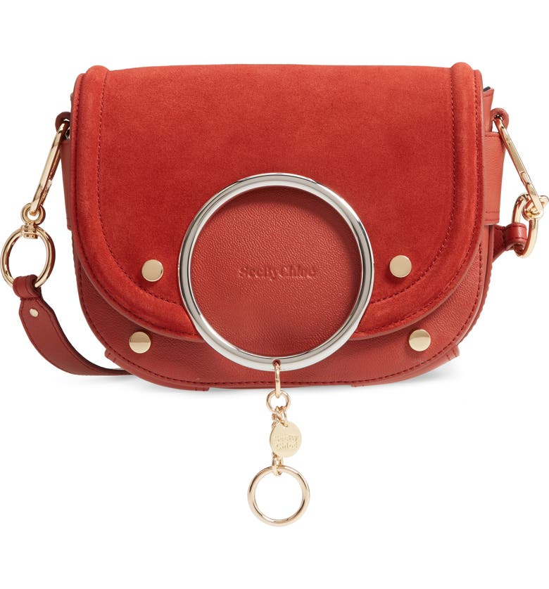 SEE BY CHLOÉ Mara Leather Crossbody Bag, Main, color, FADED RED