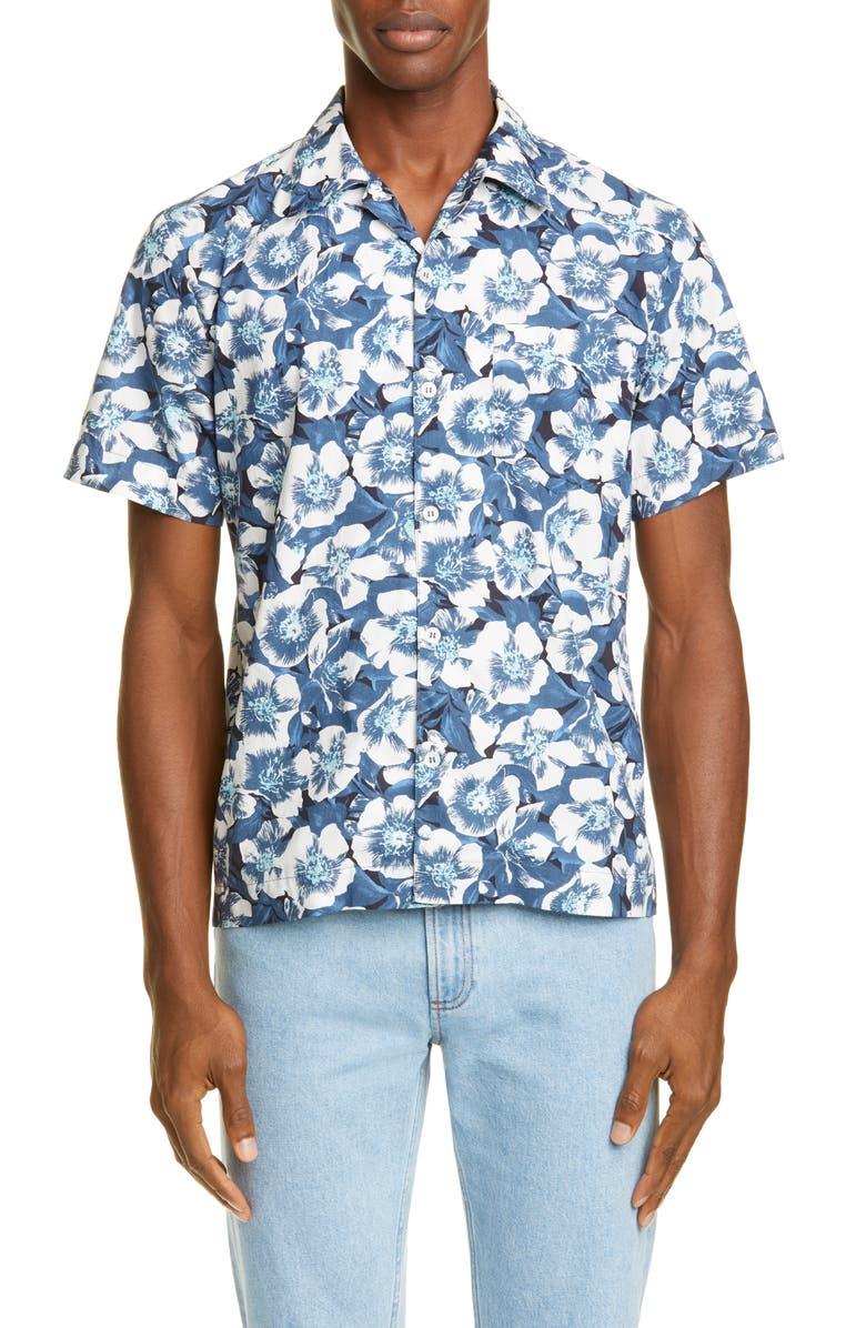 A.P.C. Joseph Floral Button-Up Camp Shirt, Main, color, BLUE