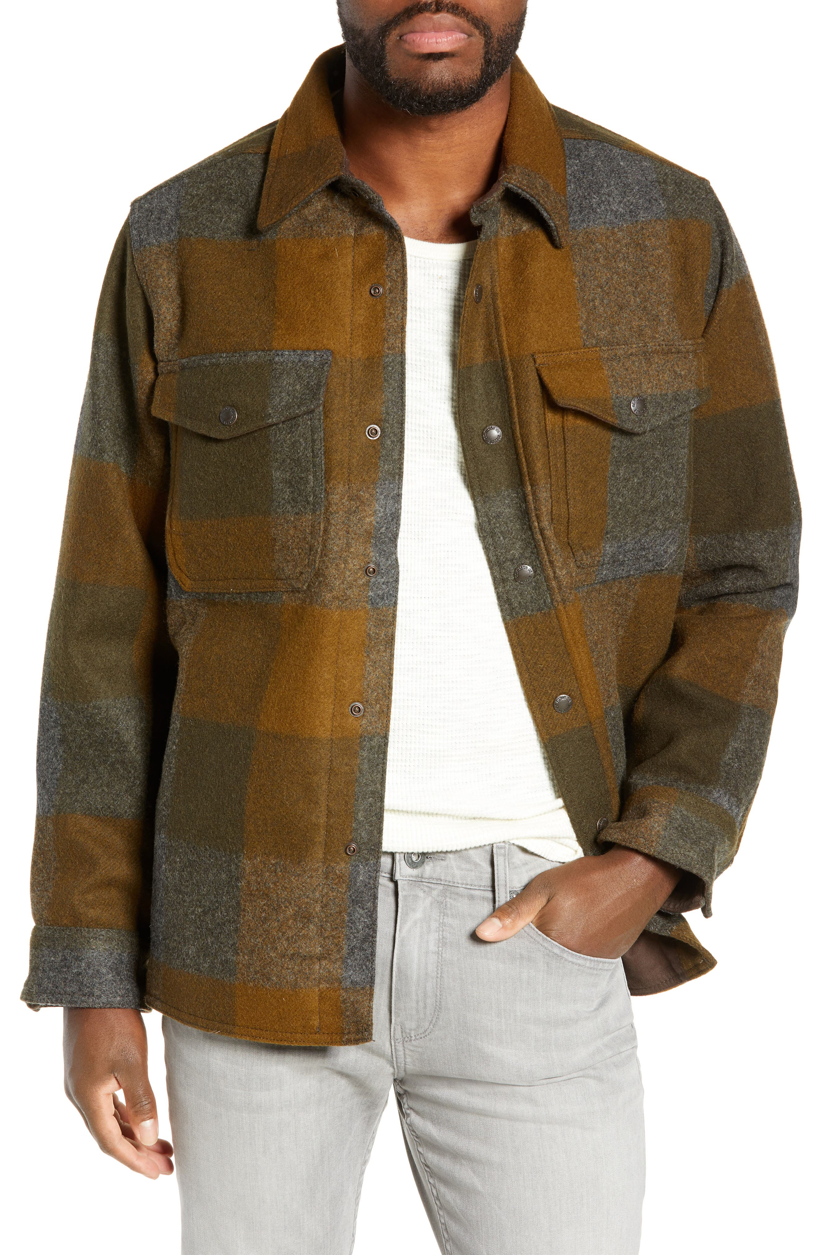 ,                             Mackinaw Plaid Wool Flannel Shirt Jacket,                             Main thumbnail 1, color,                             DKMIL