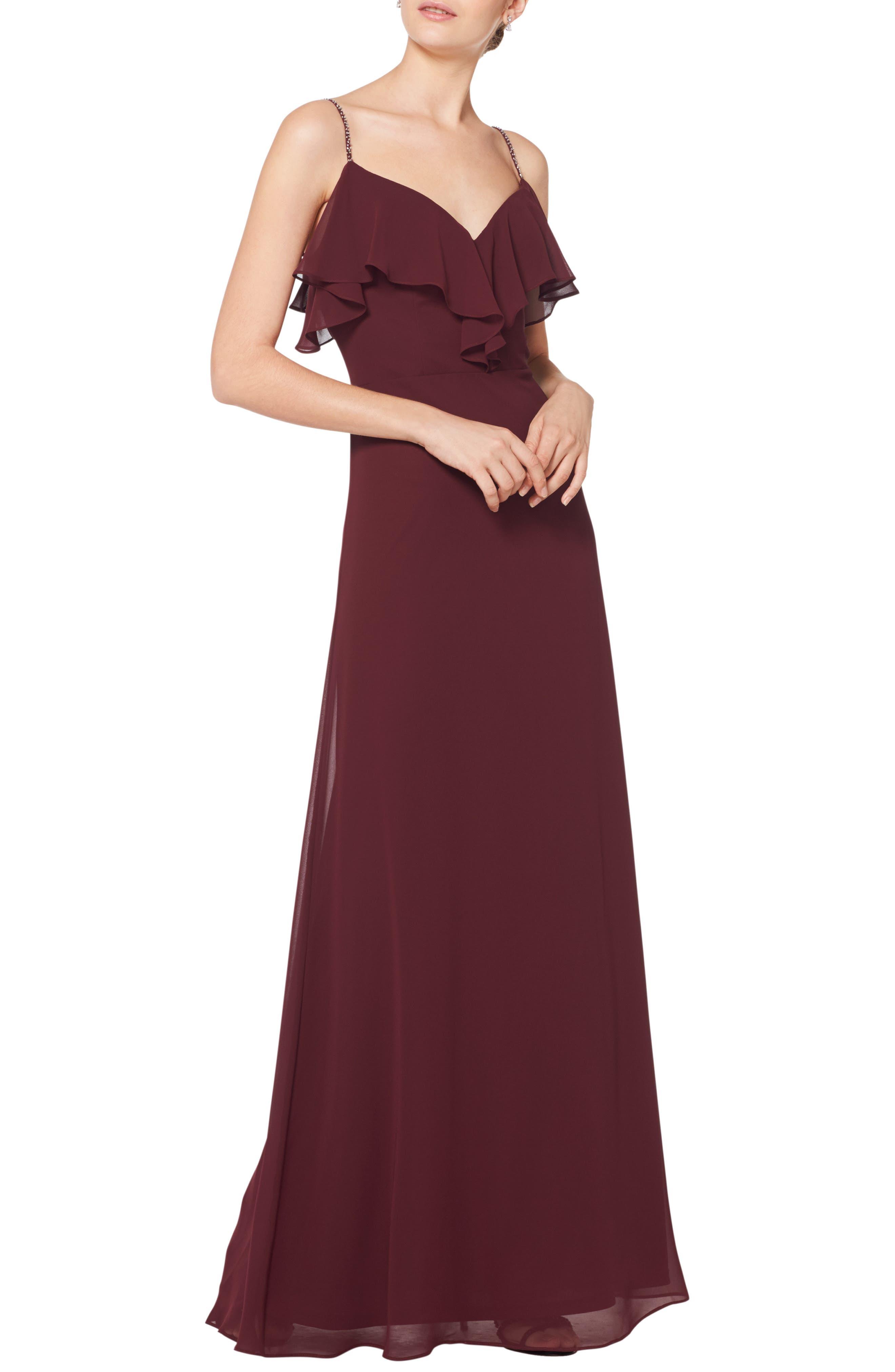 #levkoff Jeweled Strap Ruffle Neck Chiffon Gown, Burgundy