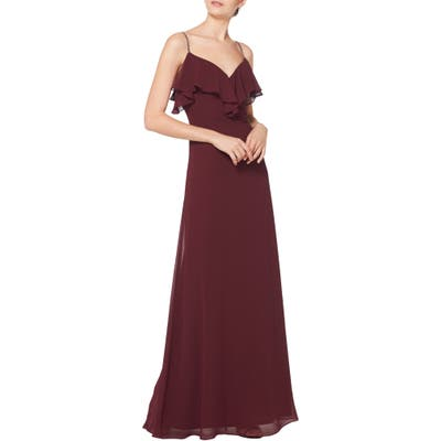 #levkoff Jeweled Strap Ruffle Neck Chiffon Gown, Burgundy