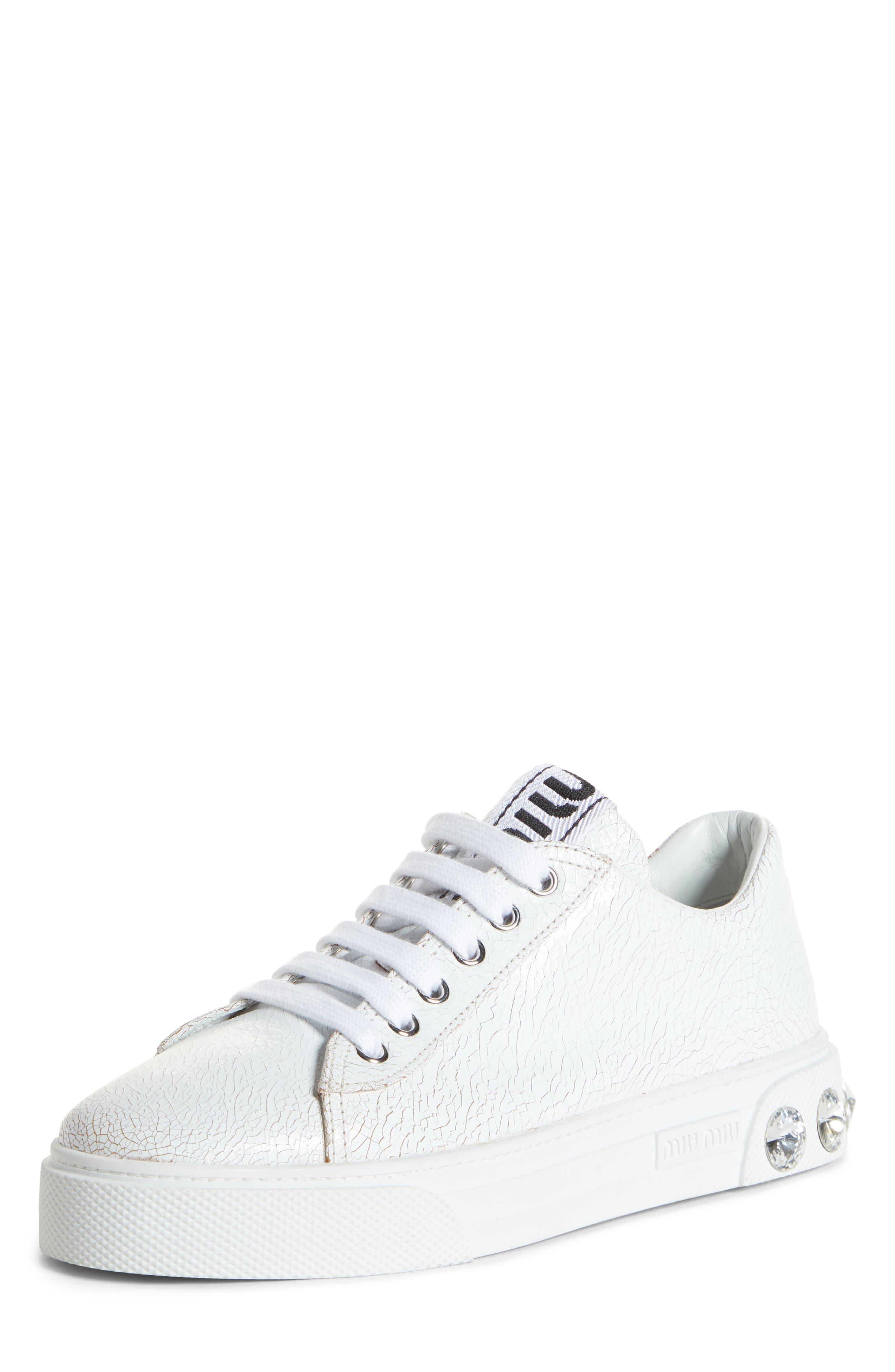 Miu Miu Crystal Detail Skate Sneaker, White