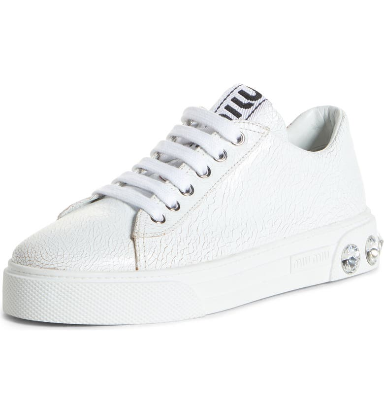 MIU MIU Crystal Skate Sneaker, Main, color, WHITE PATENT