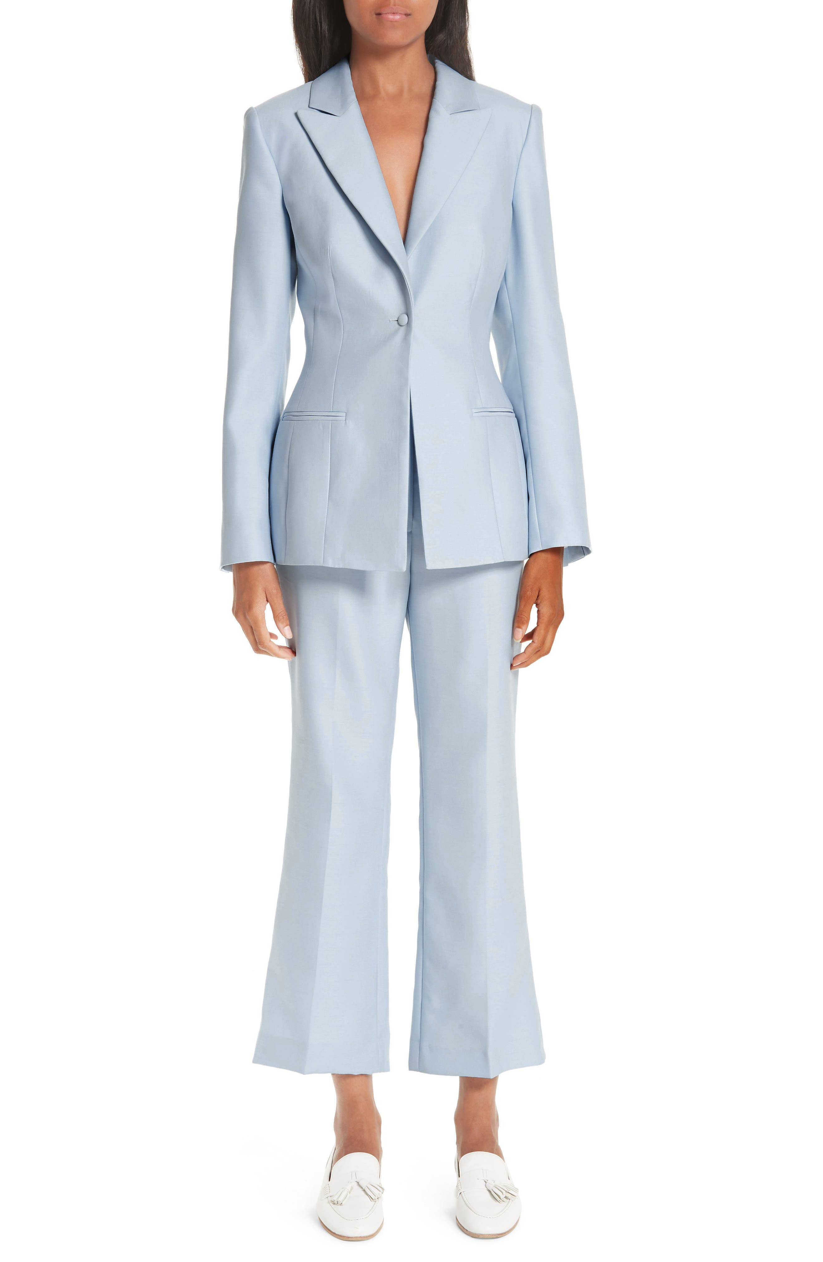 ,                             One-Button Wool & Silk Jacket,                             Alternate thumbnail 7, color,                             PALE BLUE