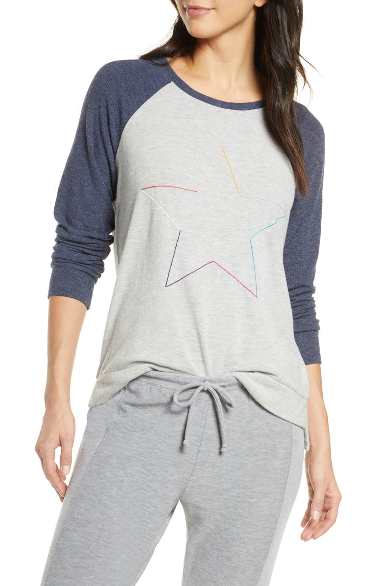PJ SALVAGE Icon Long Sleeve Top, Main, color, HEATHER GREY