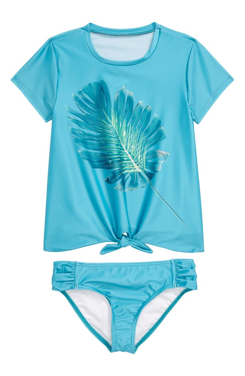 HEART AND HARMONY Leaf Print Two-Piece Rashguard Swimsuit, Main, color, 400