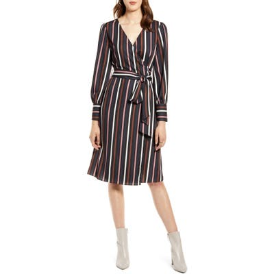 Petite Halogen Long Sleeve Wrap Dress, Black