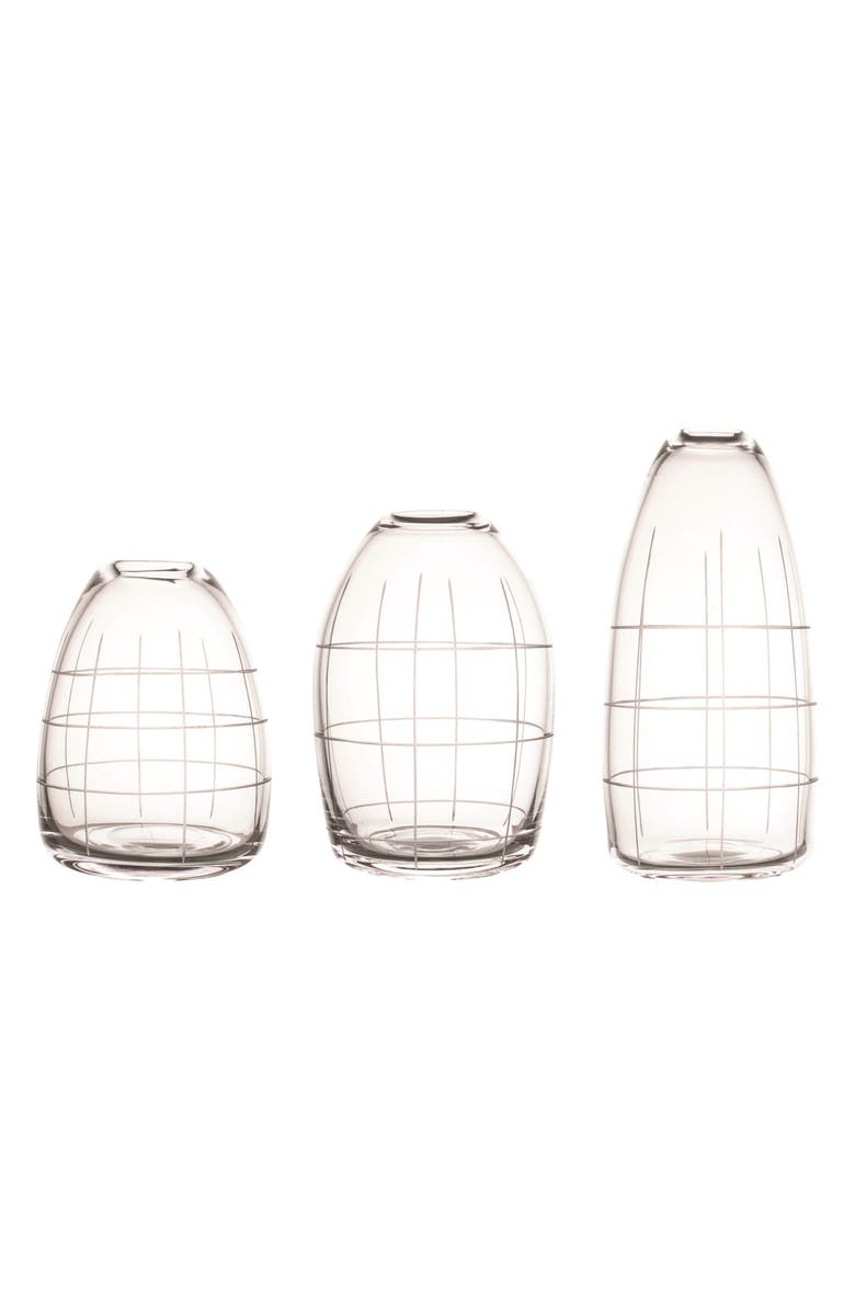 CANVAS HOME Wren Set of 3 Etched Glass Vases, Main, color, 100