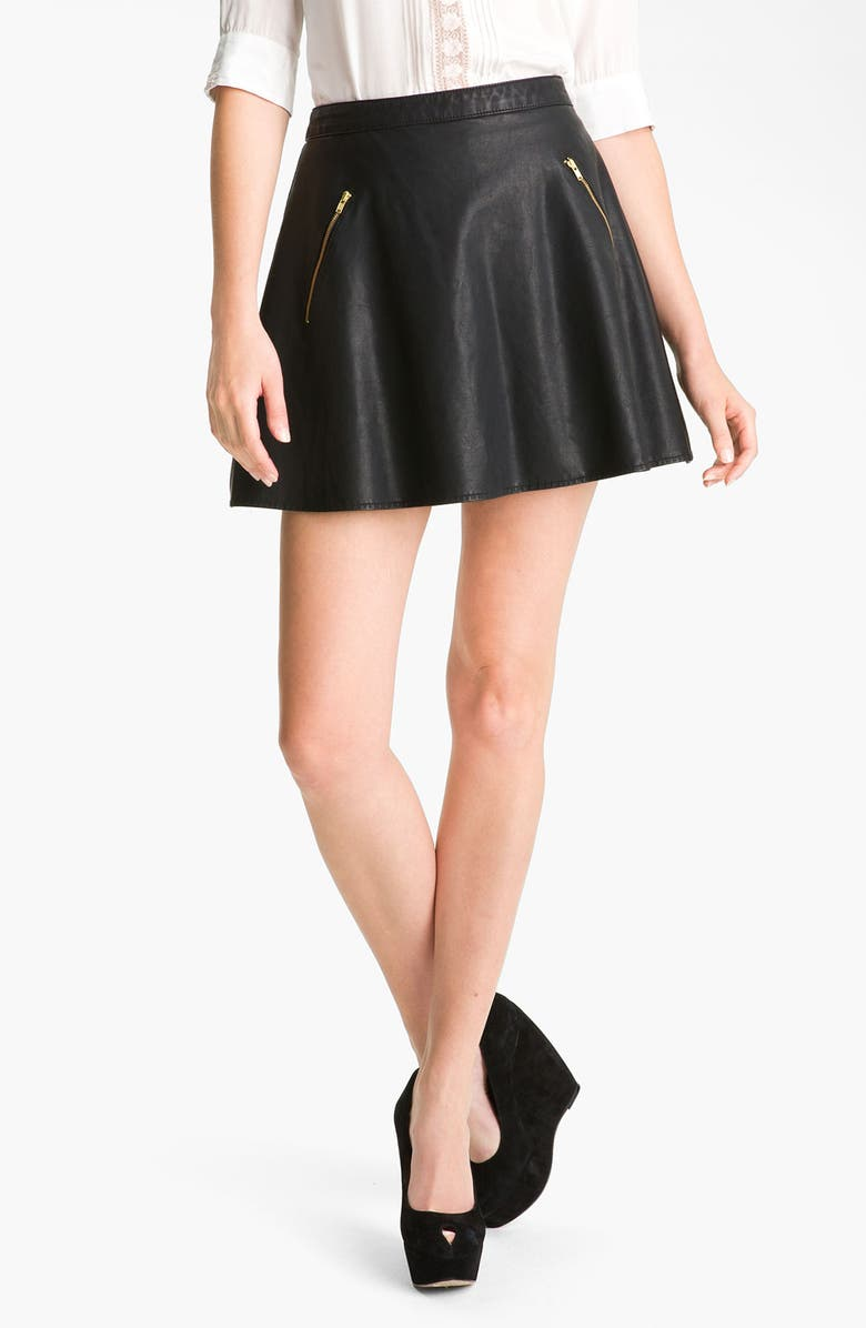 FREE PEOPLE Faux Leather Skirt, Main, color, 001