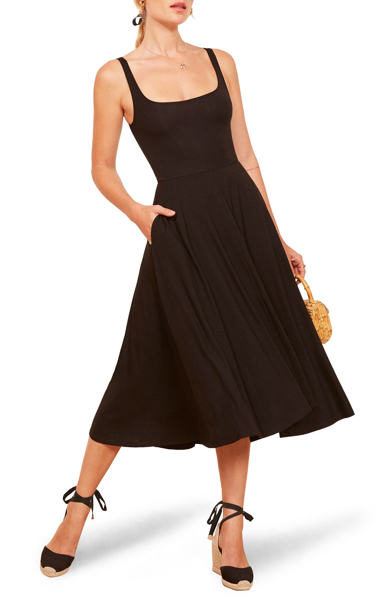 Reformation Rou Midi Fit & Flare Dress, Black