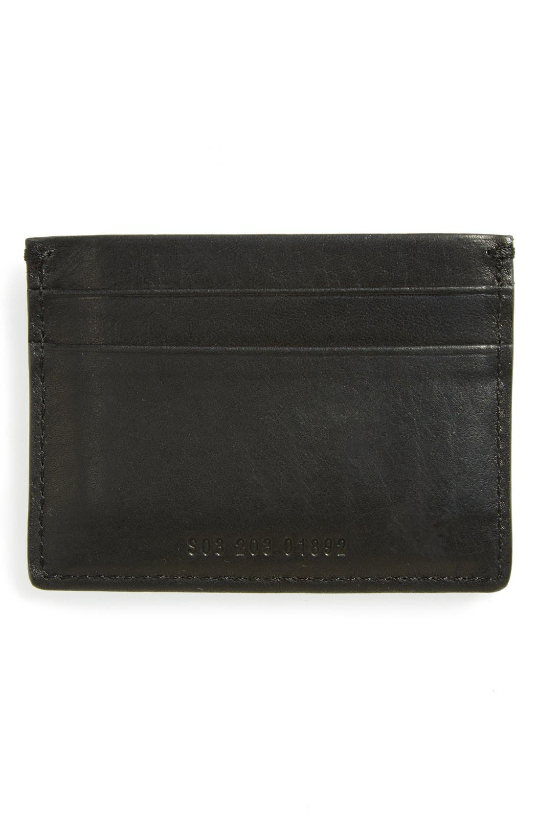 ,                             Leather Card Case,                             Alternate thumbnail 2, color,                             BLACK
