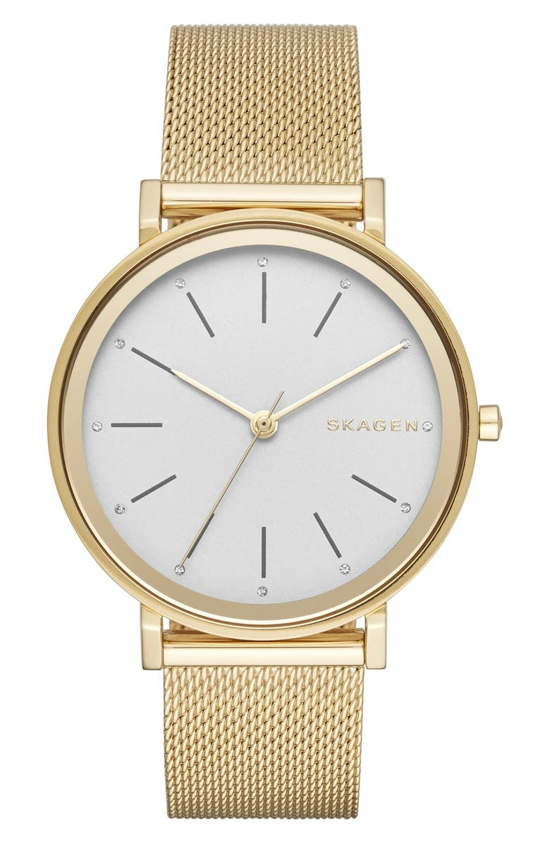 SKAGEN 'Hald' Round Mesh Strap Watch, 34mm, Main, color, 710