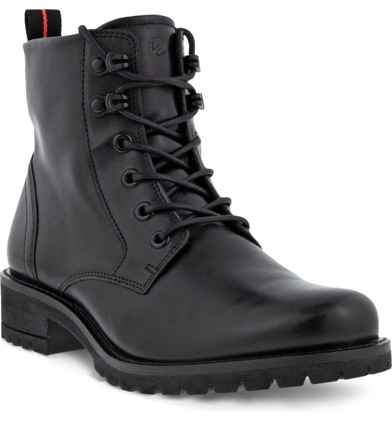 ECCO Elaina Street Lace-Up Boot, Main, color, BLACK LEATHER