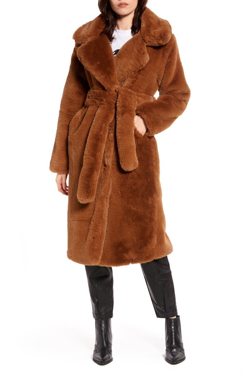 NA-KD Longline Faux Fur Coat, Main, color, BROWN