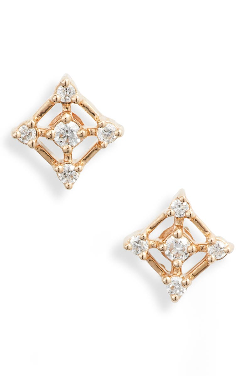 DANA REBECCA DESIGNS Ava Bea Square Diamond Stud Earrings, Main, color, YELLOW GOLD/ DIAMOND
