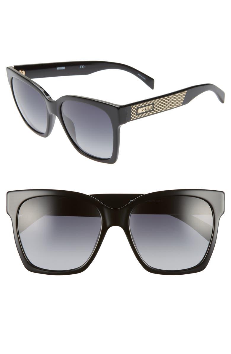 MOSCHINO 56mm Sunglasses, Main, color, BLACK