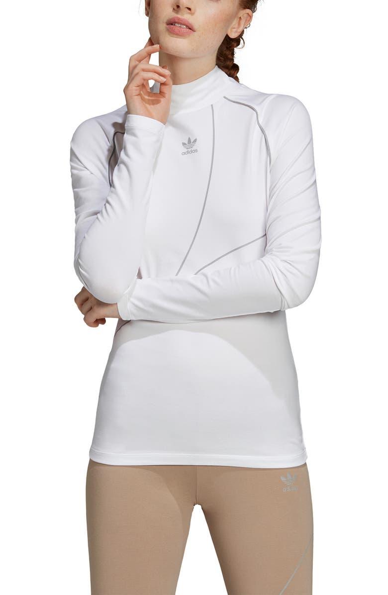 ADIDAS ORIGINALS OG Long Sleeve Tee, Main, color, WHITE/ REFLECTIVE SILVER