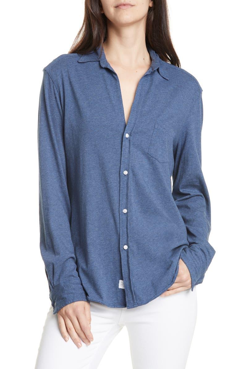 FRANK & EILEEN Tee Lab Eileen Cotton Jersey Button-Up Shirt, Main, color, INDIGO MELANGE