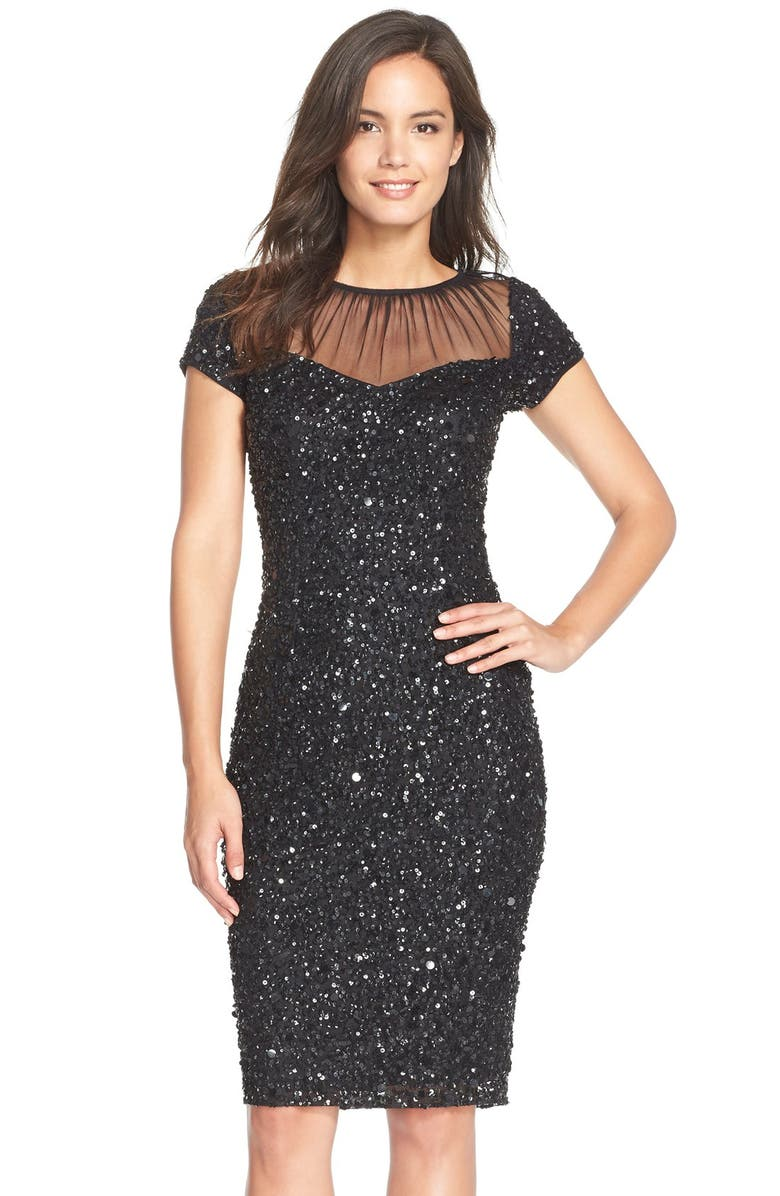 ADRIANNA PAPELL Sequin Embellished Sheath Dress, Main, color, 001
