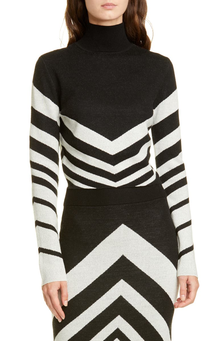 VICTOR GLEMAUD Chevron Crop Wool Sweater, Main, color, BLACK AND WHITE