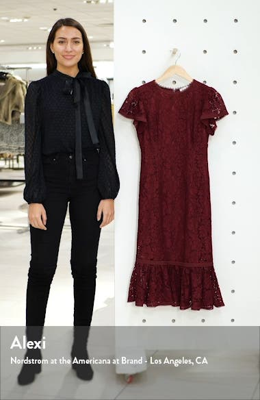 Lace Ruffle Hem Sheath Dress, sales video thumbnail