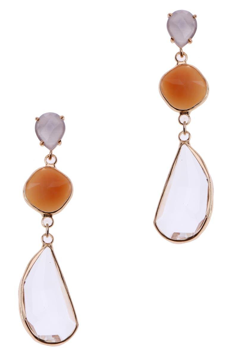 NAKAMOL CHICAGO Triple Stone Drop Earrings, Main, color, CLEAR/ ORANGE/ GREY