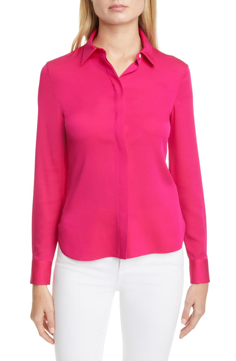 THEORY Classic Fitted Stretch Silk Shirt, Main, color, MAGENTA