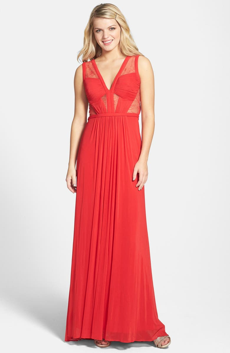 LA FEMME Lace & Jersey Gown, Main, color, 600