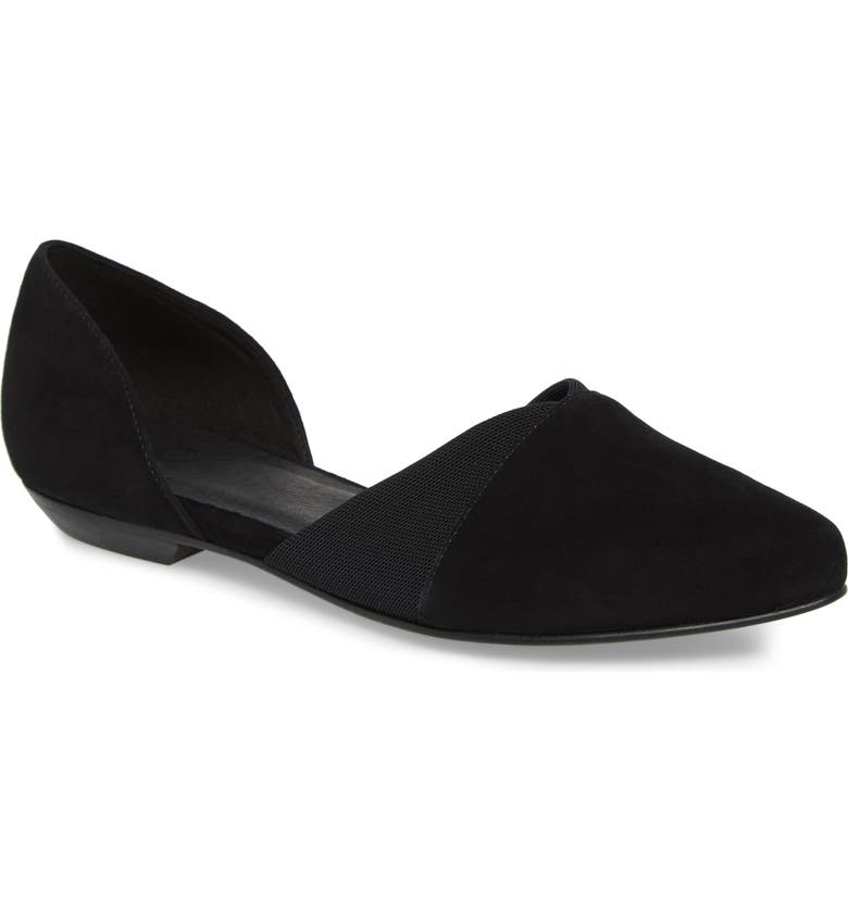 EILEEN FISHER Asha-Su Flat, Main, color, BLACK SUEDE