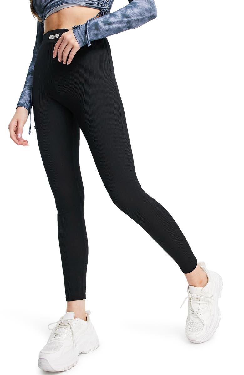 TOPSHOP Ribbed Leggings, Main, color, BLACK