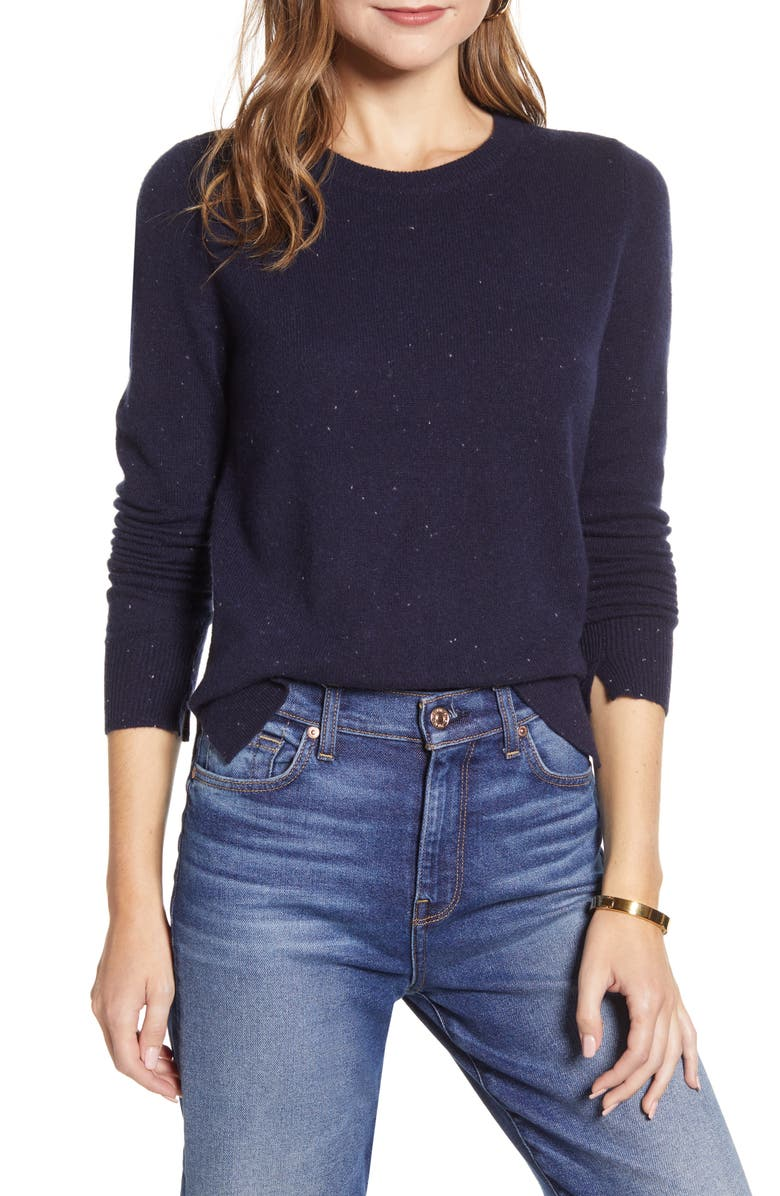 HALOGEN<SUP>®</SUP> Crewneck Cashmere Sweater, Main, color, NAVY NEP PATTERN