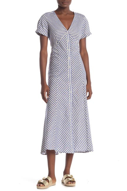 Image of Max Studio Striped Button Front Midi Dress