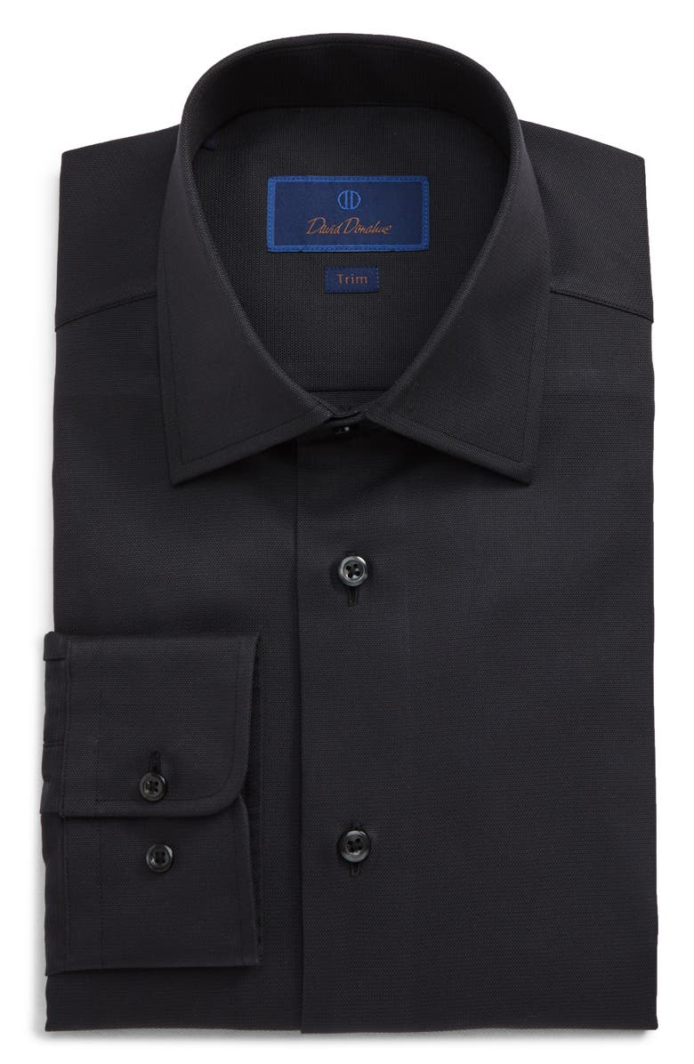 DAVID DONAHUE Trim Fit Solid Dress Shirt, Main, color, BLACK