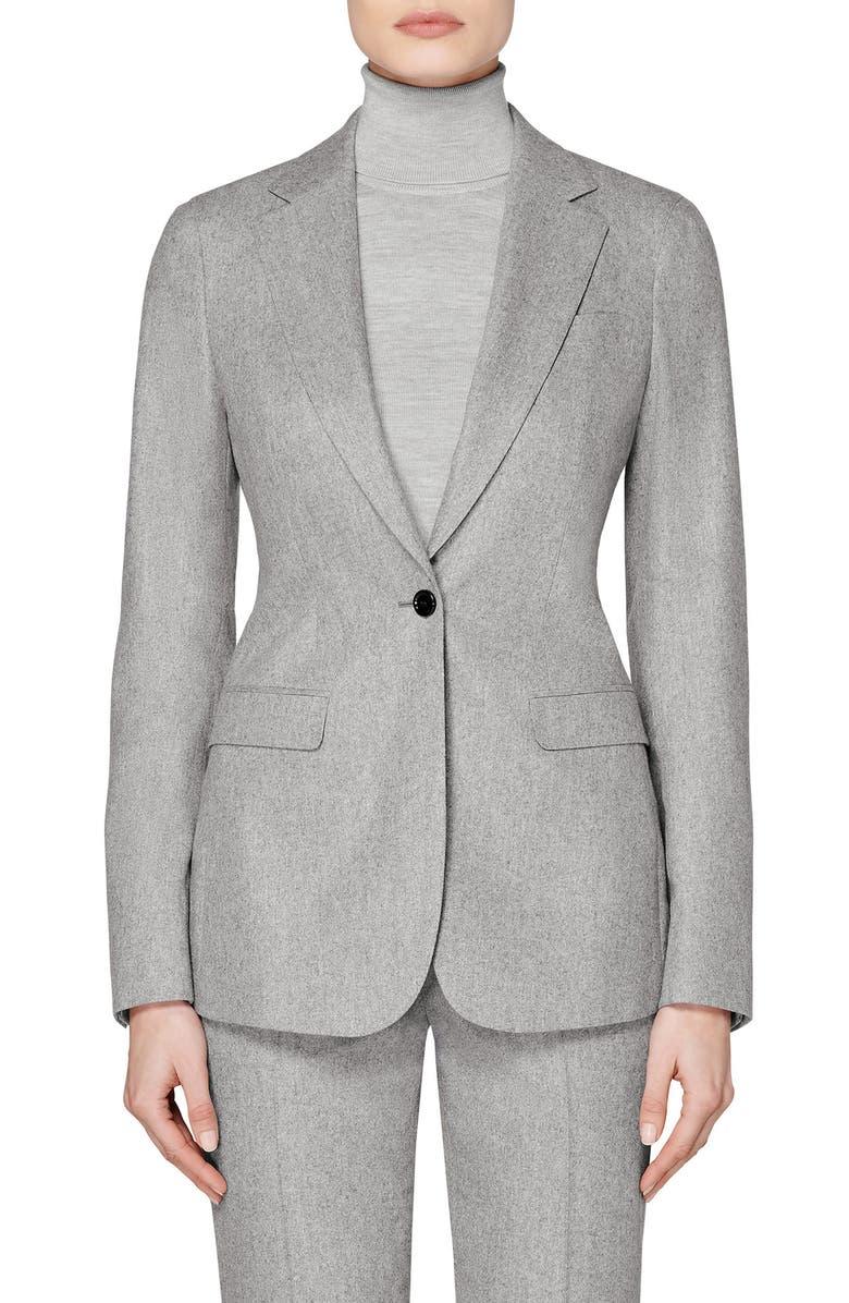 SUISTUDIO Cameron Single Breasted Wool Blazer, Main, color, LIGHT GREY