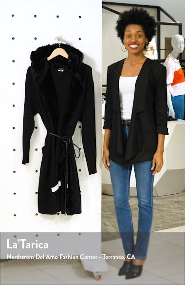 Wool & Cashmere Cardigan with Genuine Shearling Trim, sales video thumbnail