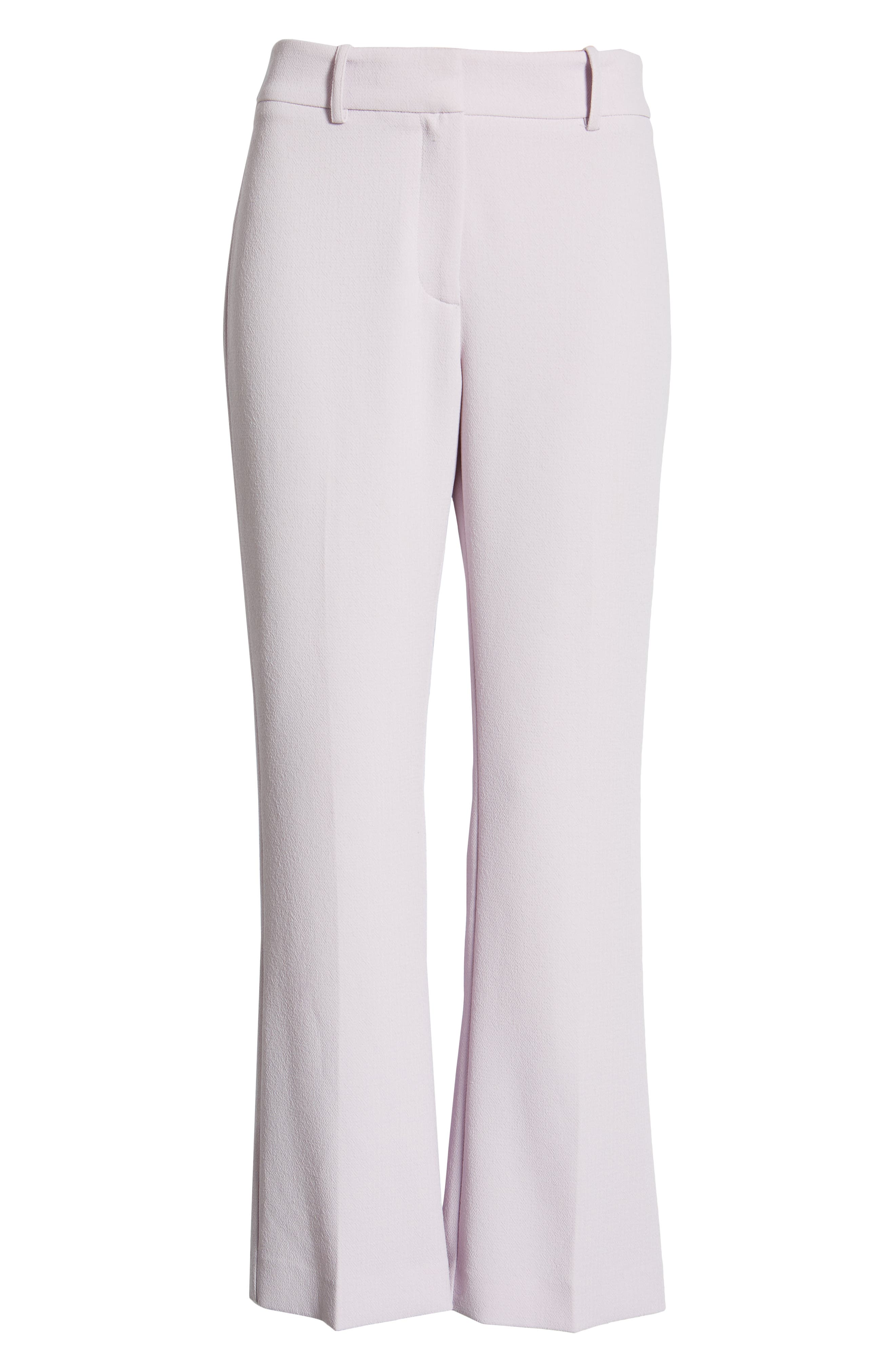 ,                             Crepe Kick Flare Ankle Pants,                             Alternate thumbnail 7, color,                             ORCHID BUD