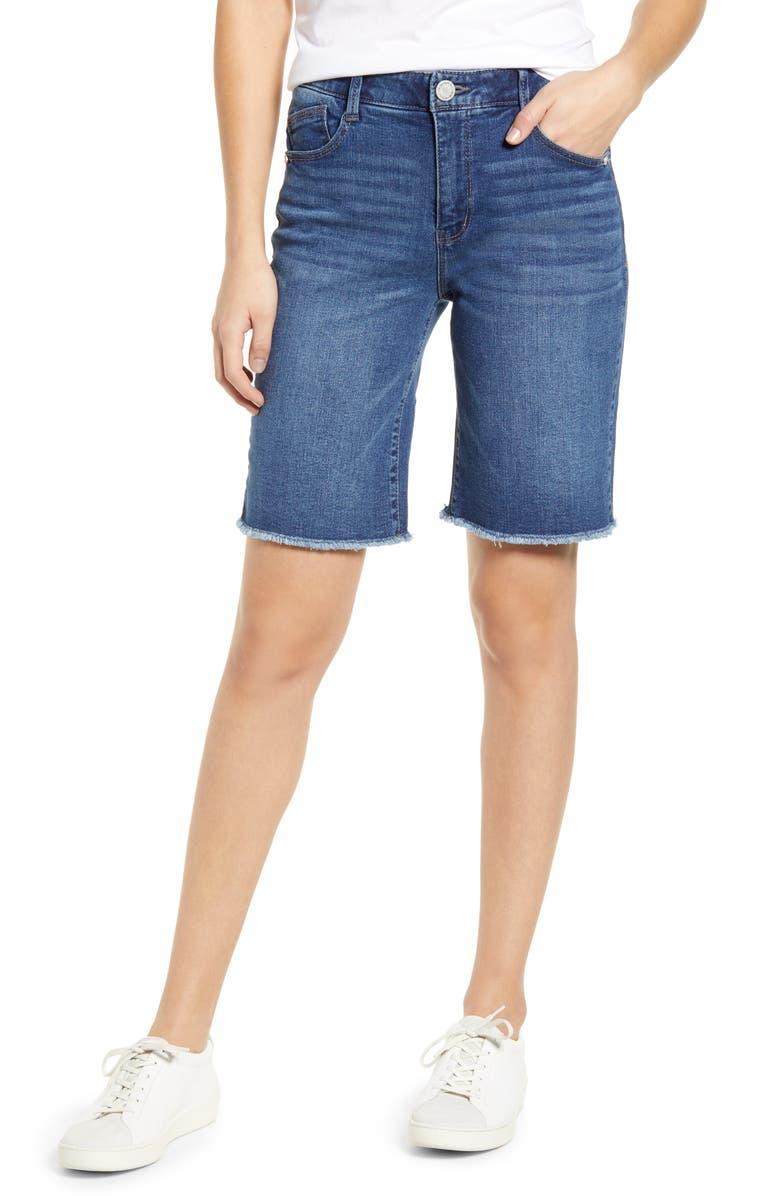 WIT & WISDOM Ab-Solution Retro High Waist Denim Bermuda Shorts, Main, color, BLUE
