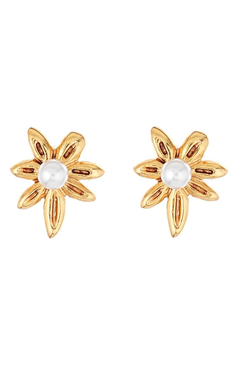 OSCAR DE LA RENTA Stars Swarovski Pearl Stud Earrings, Main, color, GOLD
