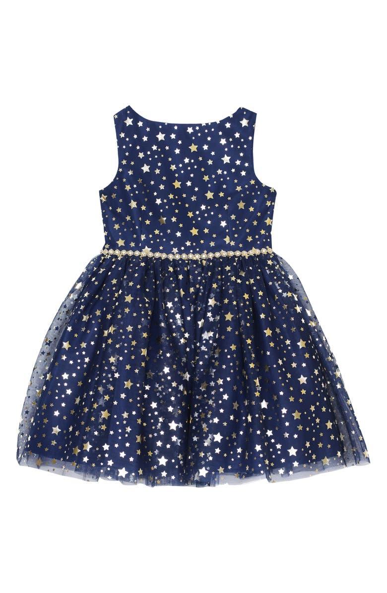 PIPPA & JULIE Foil Stars Dress, Main, color, NAVY/ GOLD