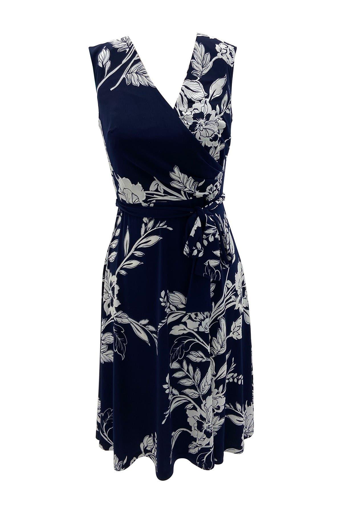 Image of Sandra Darren Sleeveless Faux Wrap ITY Knit Fit & Flare Dress