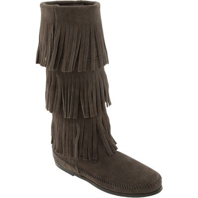 Minnetonka 3-Layer Fringe Boot, Grey