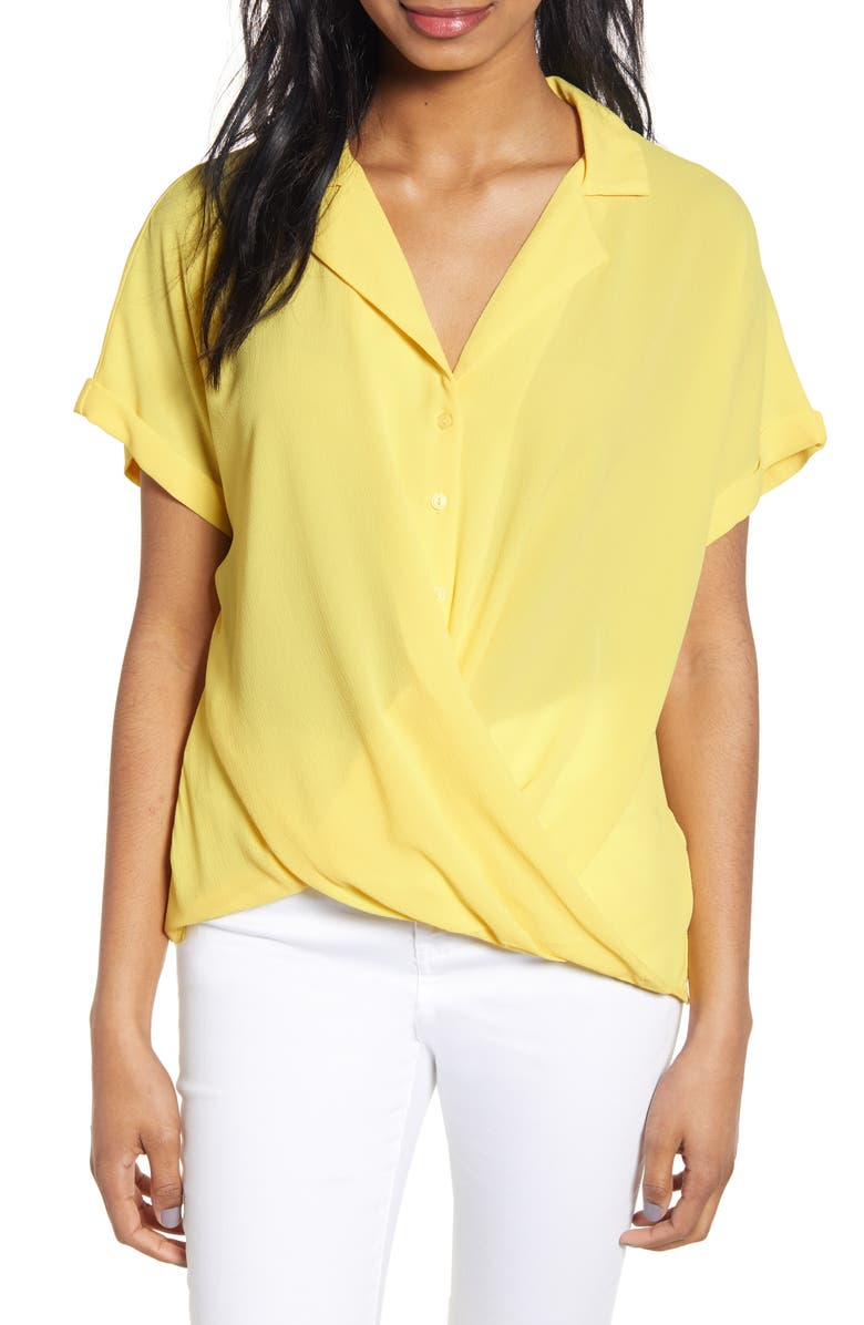 ALL IN FAVOR Gathered Front Button Top, Main, color, YELLOW CREAM
