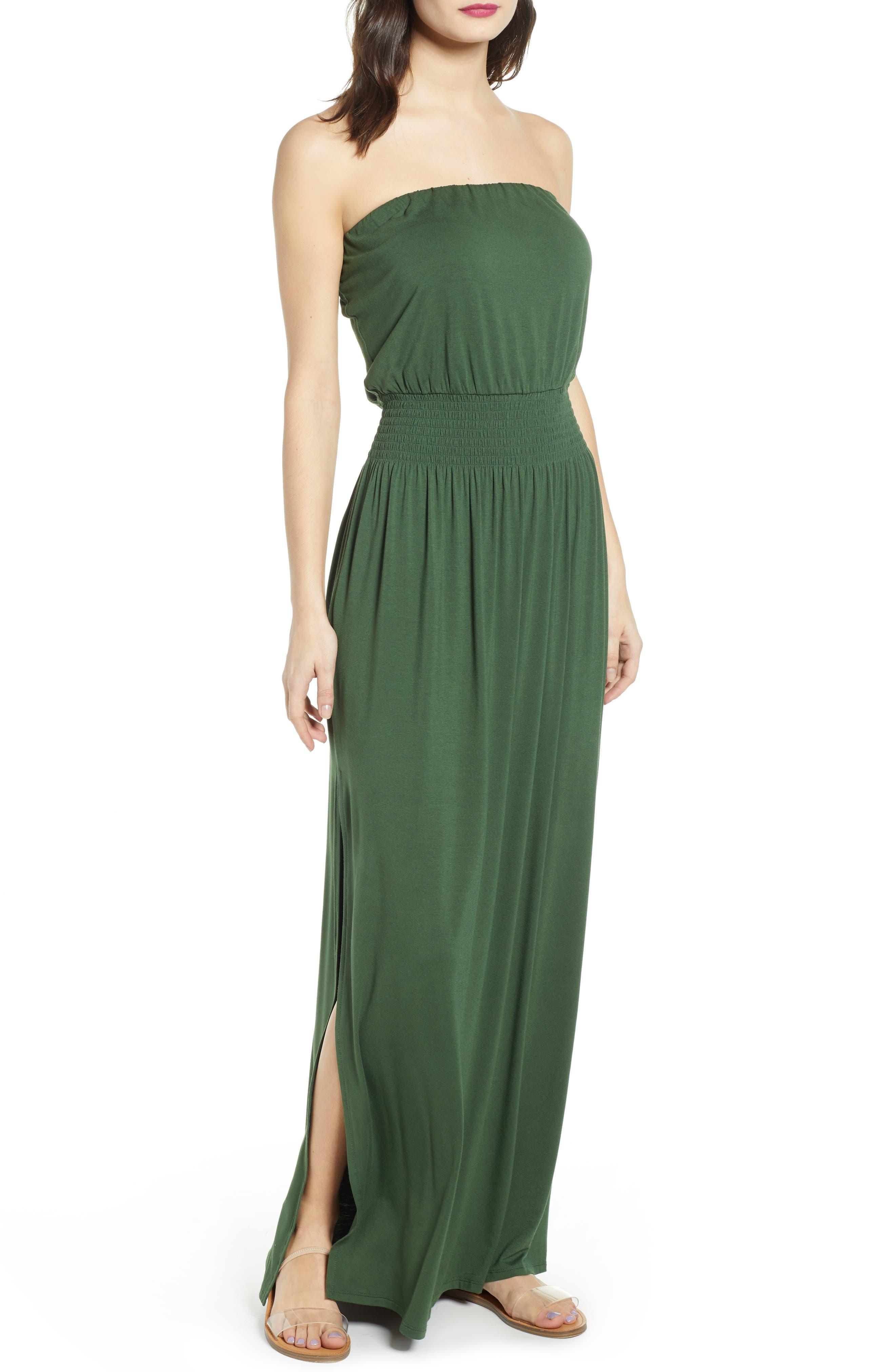 Bp. Strapless Maxi Dress, Green