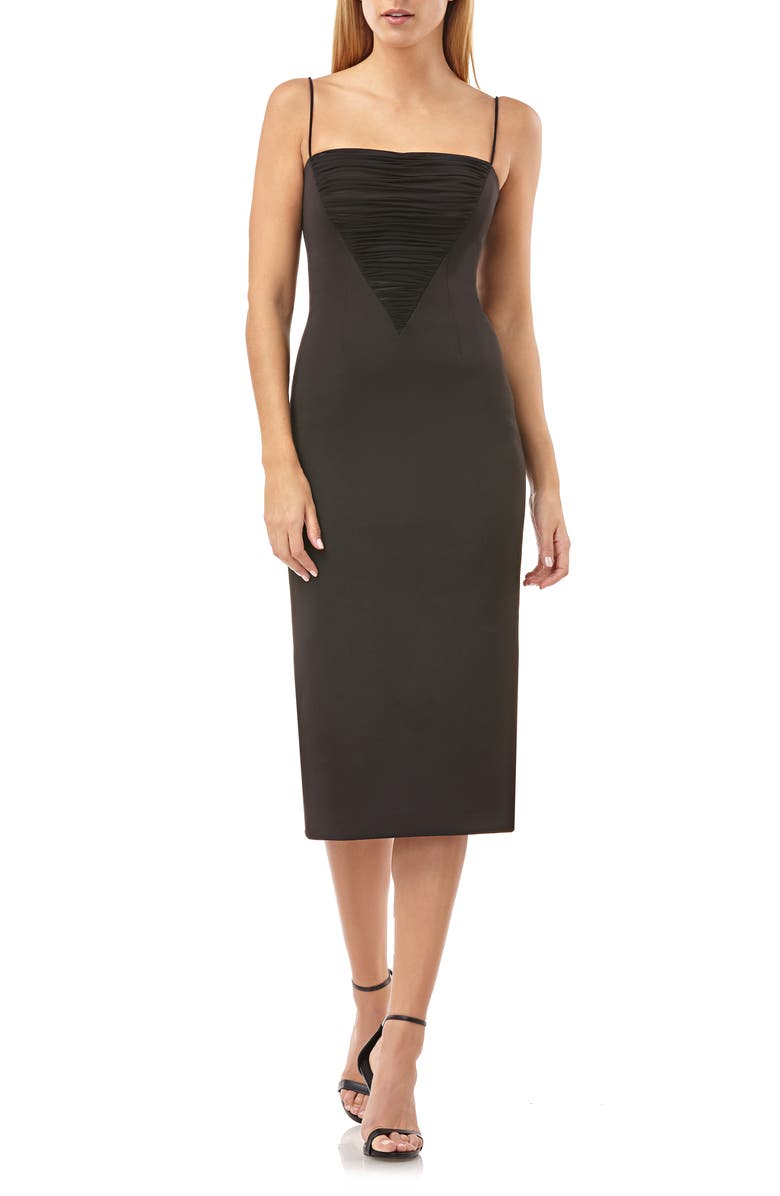 JS COLLECTIONS Shirred Mesh Inset Cocktail Dress, Main, color, BLACK