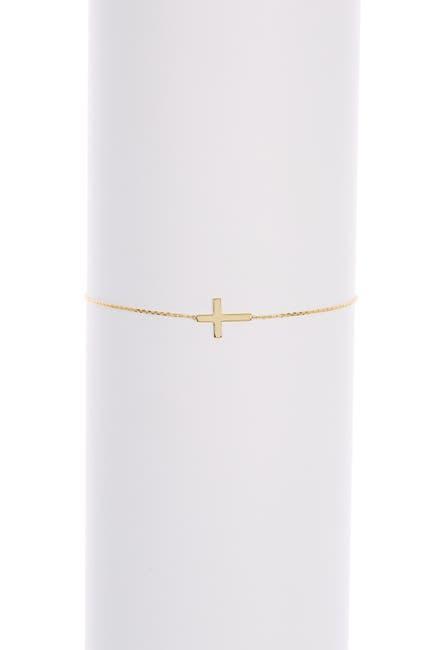 Image of Candela 10K Yellow Gold Cross Station Chain Bracelet