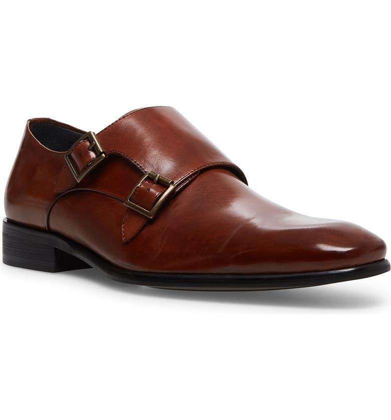 STEVE MADDEN Beaumont Double Monk Strap Shoe, Main, color, COGNAC LEATHER